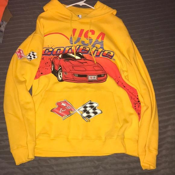 99c02cbb6 Forever 21 Jackets & Coats | Yellow Corvette Graphic Hoodie | Poshmark